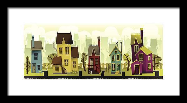 Grass Framed Print featuring the digital art Seamless Neighborhood by Doodlemachine