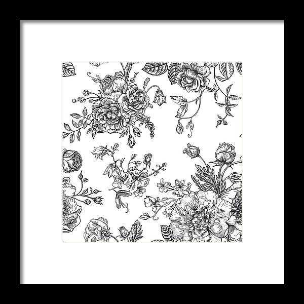 Art Framed Print featuring the digital art Seamless Pattern With Bouquet Of by Nata slavetskaya