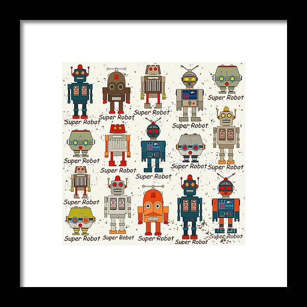 Antenna Framed Print featuring the digital art Seamless Robot Patterncartoon Vector by Pgmart