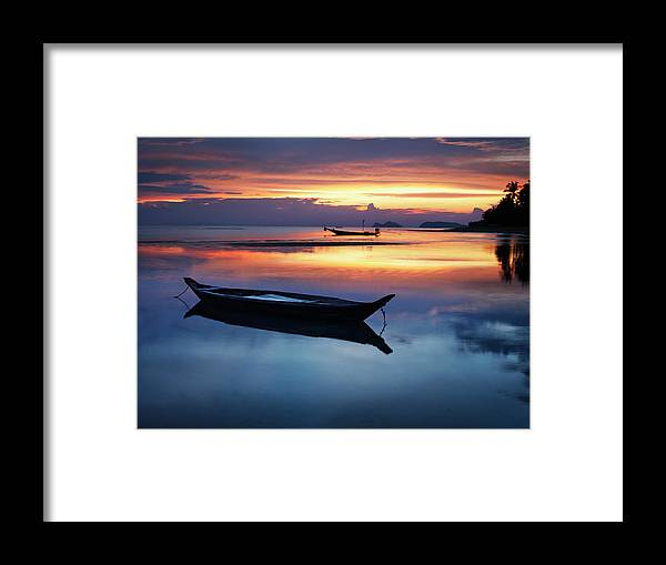 Scenics Framed Print featuring the photograph Seashore With Longtail Boats At Sunset by Henrik Sorensen