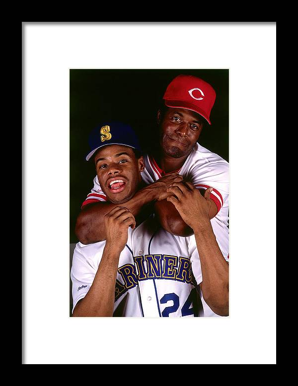 1980-1989 Framed Print featuring the photograph Seattle Mariners Cincinnati Reds by Ronald C. Modra/sports Imagery