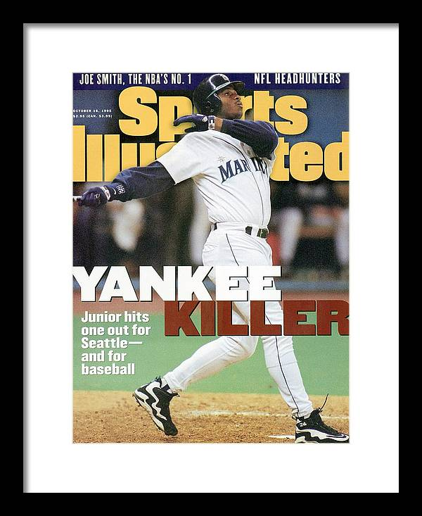 Magazine Cover Framed Print featuring the photograph Seattle Mariners Ken Griffey Jr, 1995 Al Division Series Sports Illustrated Cover by Sports Illustrated