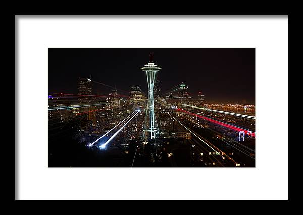 Laser Framed Print featuring the photograph Seattle Skyline Laser Show by Jonkman Photography