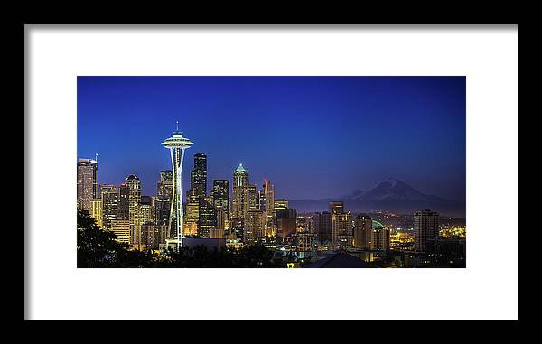 Dawn Framed Print featuring the photograph Seattle Skyline by Sebastian Schlueter (sibbiblue)