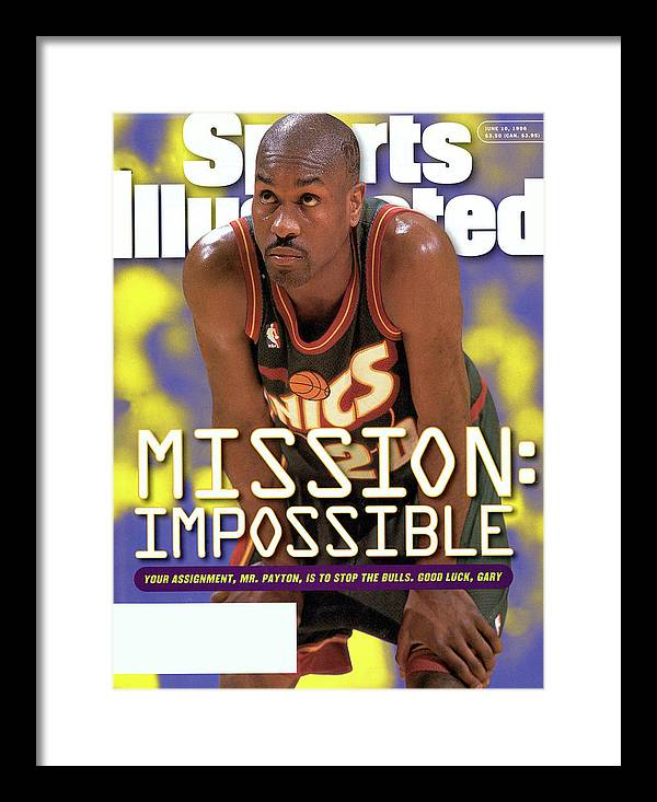 Playoffs Framed Print featuring the photograph Seattle Supersonics Gary Payton, 1996 Nba Western Sports Illustrated Cover by Sports Illustrated