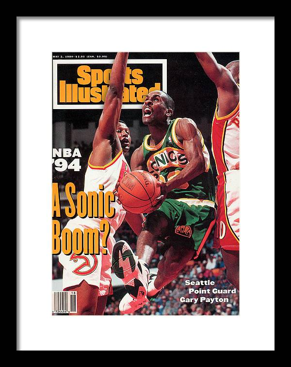 Atlanta Framed Print featuring the photograph Seattle Supersonics Gary Payton... Sports Illustrated Cover by Sports Illustrated