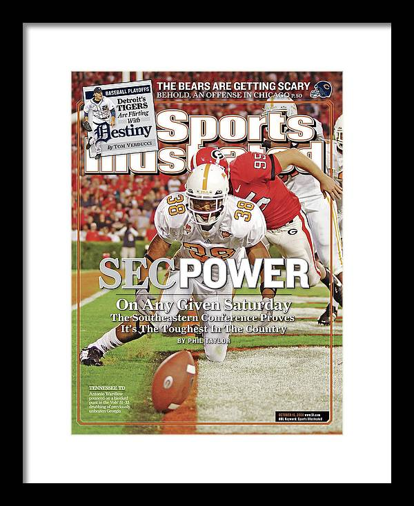 Magazine Cover Framed Print featuring the photograph Sec Power On Any Given Saturday The Southeastern Conference Sports Illustrated Cover by Sports Illustrated