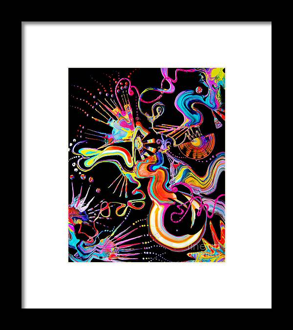 Fluid Etherial Flowing Exciting Vibrant Charming Compelling Fun Colorful Energetic Youthful Framed Print featuring the painting Secret Fairy Moon by Priscilla Batzell Expressionist Art Studio Gallery