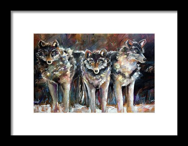 Wolves Framed Print featuring the painting Seen And Unseen by Laurie Pace