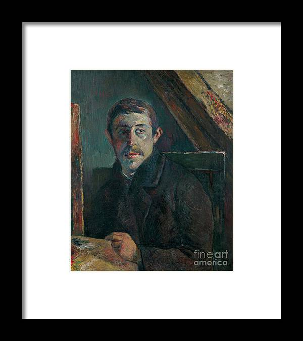 Paul Gauguin Framed Print featuring the drawing Self-portrait. Artist Gauguin, Paul by Heritage Images