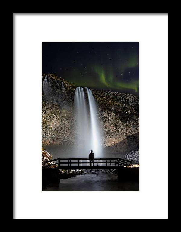 Beautiful Iceland Framed Print featuring the photograph Seljalandsfoss Northern Lights Silhouette by Nathan Bush