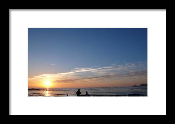 Framed Print featuring the photograph Sennen Sunset People by Michael Freeman