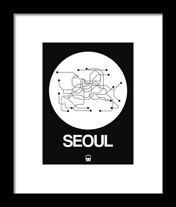 Vacation Framed Print featuring the digital art Seoul White Subway Map by Naxart Studio