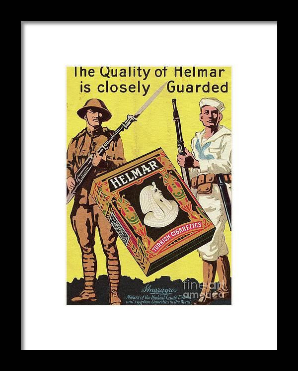Art Framed Print featuring the photograph Servicemen Advertising Helmar Cigarettes by Bettmann