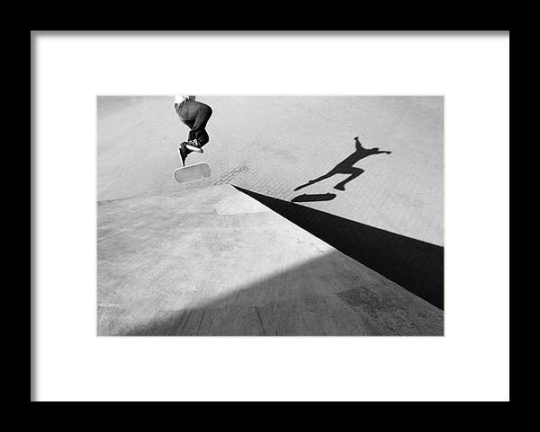Shadow Framed Print featuring the photograph Shadow Of Skateboarder by Mgs