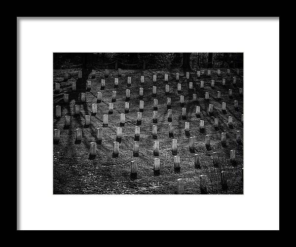 Arlington National Cemetery Framed Print featuring the photograph Shadows At Arlington by Fred DeSousa
