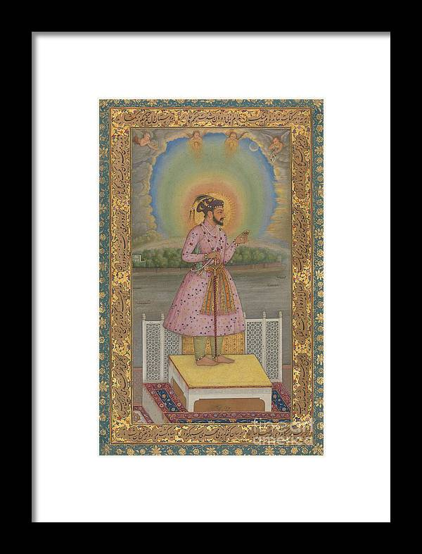 Indian Framed Print featuring the painting Shah Jahan On A Terrace by Chitarman