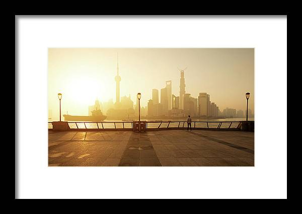 Tranquility Framed Print featuring the photograph Shanghai Sunrise At Bund With Skyline by Spreephoto.de