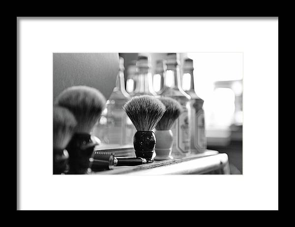 Office Framed Print featuring the photograph Shaving Brushes At Barbershop by Lorado