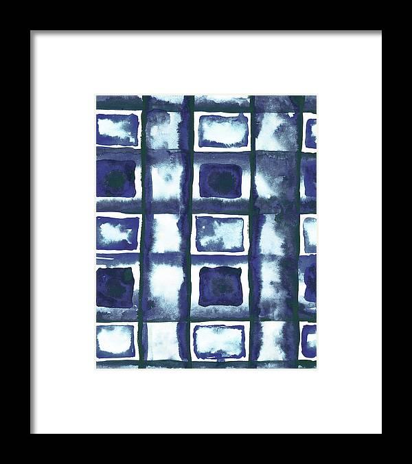 Shibori Framed Print featuring the mixed media Shibori Box Pattern II by Elizabeth Medley