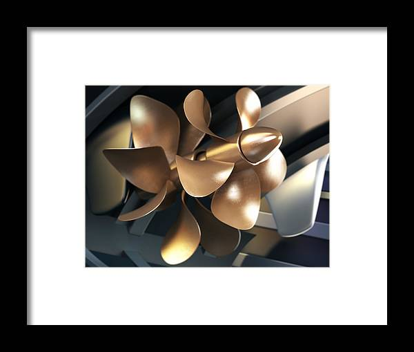 Engine Framed Print featuring the photograph Ship Propeller by Adventtr