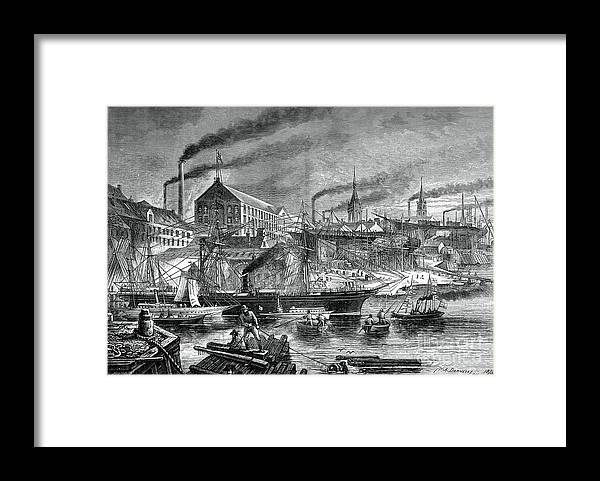 Engraving Framed Print featuring the drawing Shipyards And Shipping On The Clyde by Print Collector