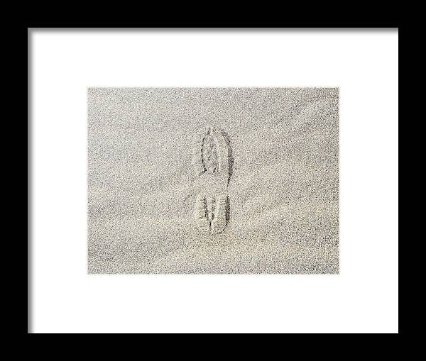 California Framed Print featuring the photograph Shoe Print In Sand by Thomas Northcut