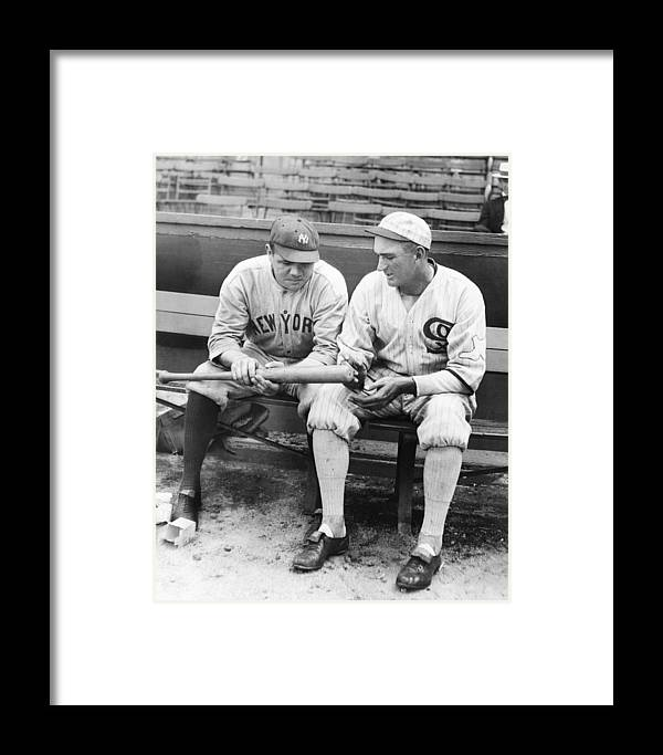 American League Baseball Framed Print featuring the photograph Shoeless Joe Jackson And Babe Ruth by New York Daily News Archive