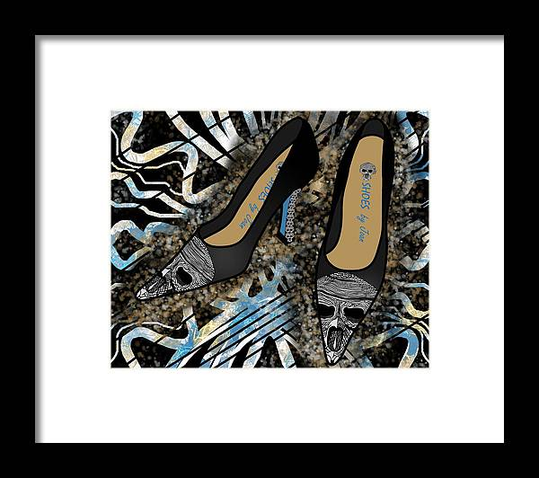 Fashion Framed Print featuring the drawing Shoes By Joan Skull Black Pumps by Joan Stratton