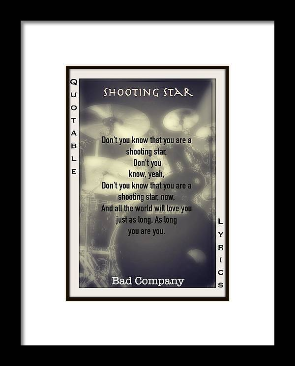 Bad Company Framed Print featuring the photograph Shooting Star by David Norman