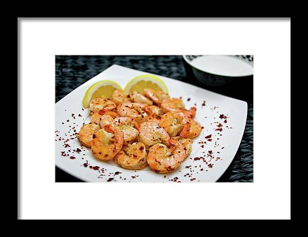 Savory Food Framed Print featuring the photograph Shrimps With Chili by Wojciech Wisniewski