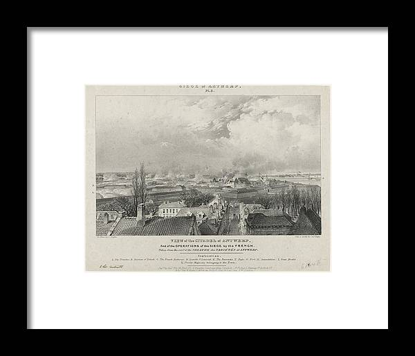 Siege Of The Citadel Of Antwerp Framed Print featuring the painting Siege Of The Citadel Of Antwerp by MotionAge Designs