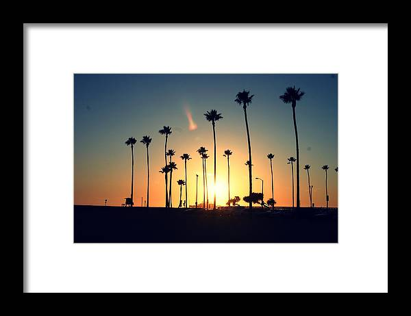 Silhouette Of Palm Trees At Sunset Framed Print By Photo By Natalie Wilson