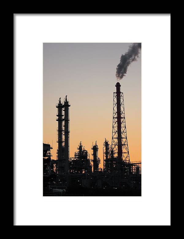Built Structure Framed Print featuring the photograph Silhouette Of Petrochemical Plant by Hiro/amanaimagesrf