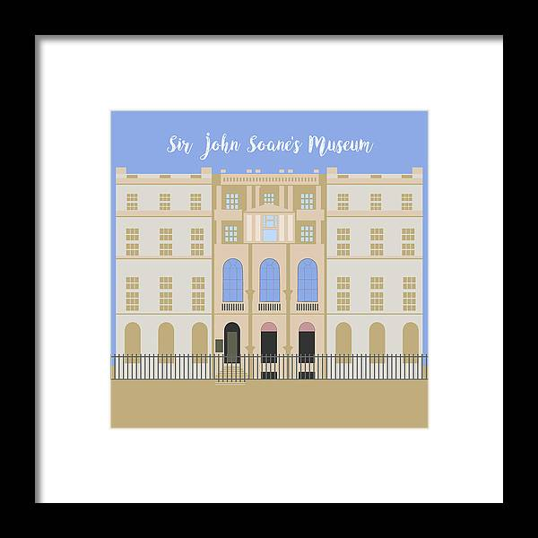 Blue Framed Print featuring the digital art Sir John Soane's Museum by Claire Huntley