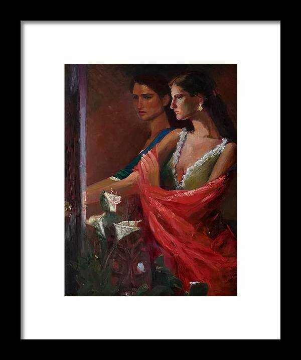 Double Portrait Framed Print featuring the painting Sisters at the Door by Irena Jablonski