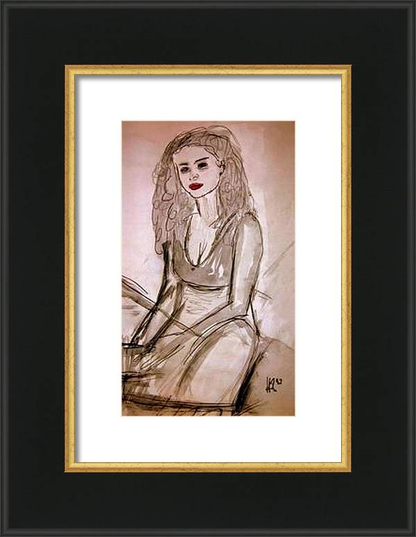 Sitting Girl Framed Print featuring the drawing Sitting Girl by Andreas Hoetzel