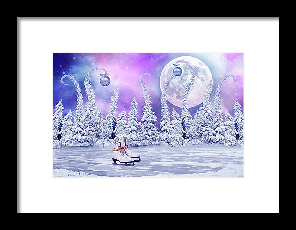 Christmas Framed Print featuring the digital art Skating Time by Mihaela Pater