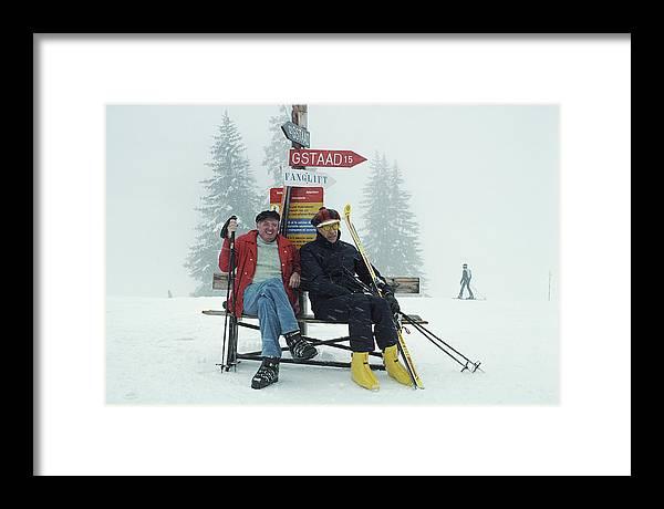 Gstaad Framed Print featuring the photograph Skiing Holiday by Slim Aarons