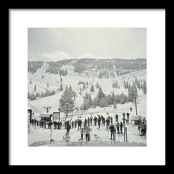 Ski Pole Framed Print featuring the photograph Skiing In Vail by Slim Aarons