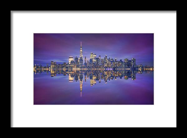 Night Framed Print featuring the photograph Skyline From Nj by Carlos F. Turienzo