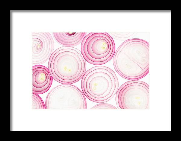 Harmony Framed Print featuring the photograph Sliced Pink Onion. Slices. Pattern by Alina Yudina