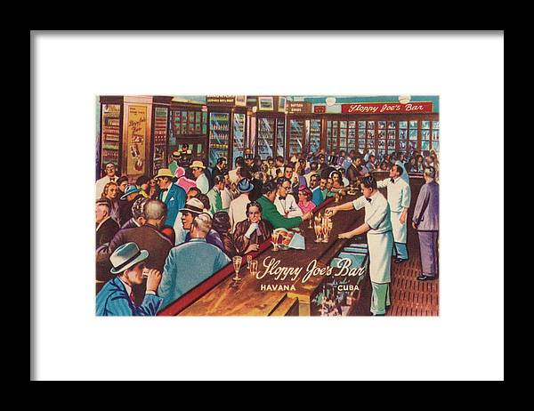 People Framed Print featuring the photograph Sloppy Joes Bar, Havana, Cuba, 1951 by Print Collector