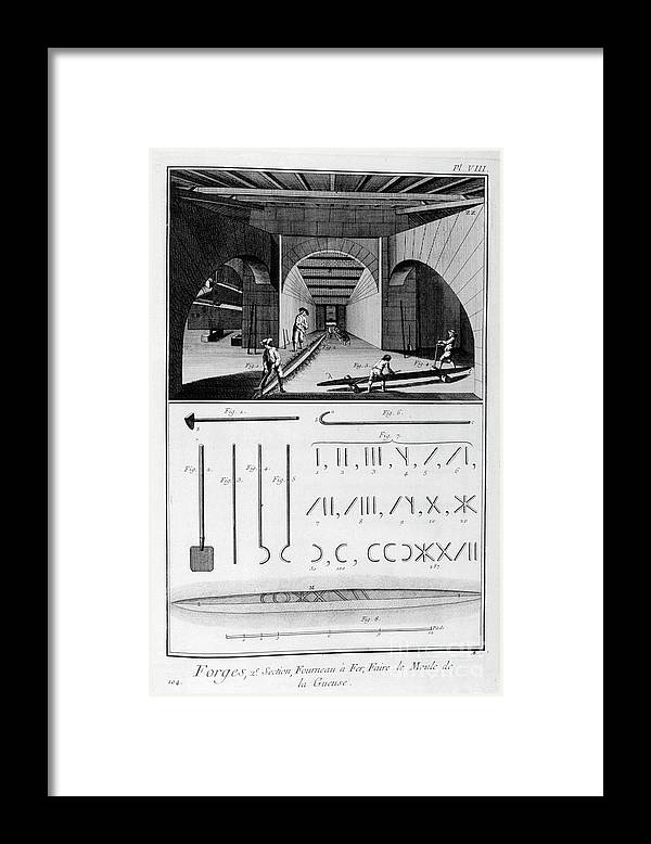 Working Framed Print featuring the drawing Smelting Iron Furnace, Pig Iron Mould by Print Collector