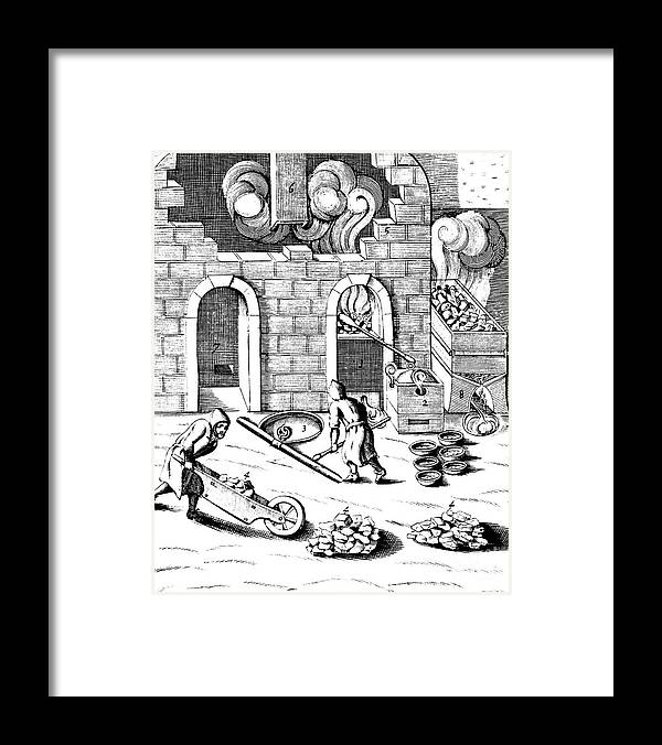 Working Framed Print featuring the drawing Smelting Of Copper, 1683 by Print Collector