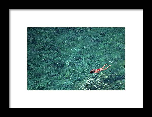 Recreational Pursuit Framed Print featuring the photograph Snorkeling In The Mediterranean Sea by Photovideostock