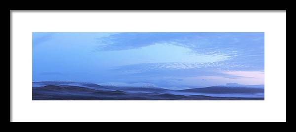 Tranquility Framed Print featuring the photograph Snow Covered Hills And Mist At Dawn by Jeremy Walker