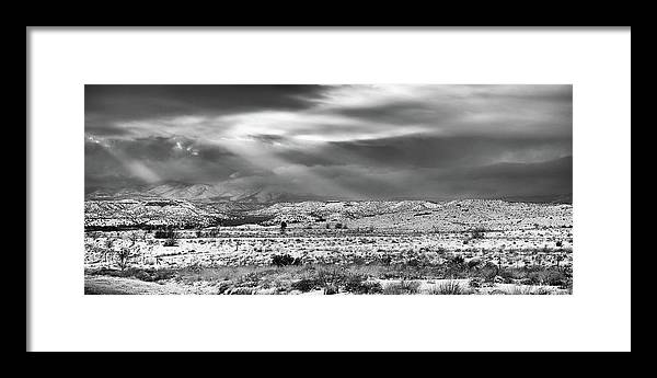 Landscape Framed Print featuring the photograph Snow Covers Northern New Mexico by Candy Brenton