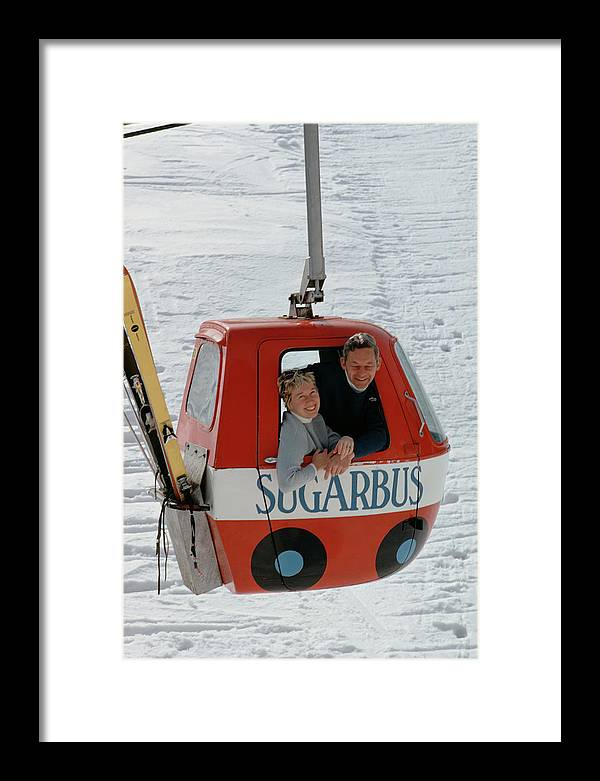 People Framed Print featuring the photograph Snow Lift by Slim Aarons