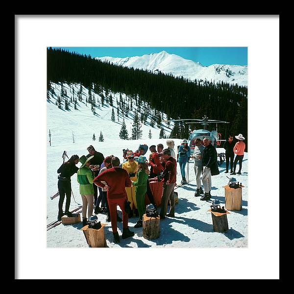 Skiing Framed Print featuring the photograph Snowmass Picnic by Slim Aarons